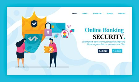 Landing page vector design of Online Banking Security. Easy to edit and customize. Modern flat design concept of web page, website, homepage, mobile app, UI. character cartoon Illustration flat style.
