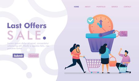 Landing page vector design of Last Offers Sale. Easy to edit and customize. Modern flat design concept of web page, website, homepage, mobile apps, UI. character cartoon Illustration flat style. 写真素材 - 130043757