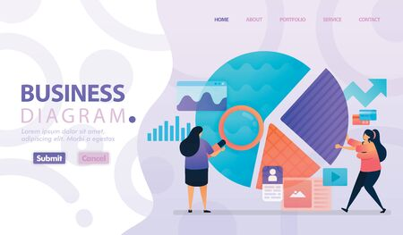 Landing page vector design of Business Diagram and Chart. Easy to edit and customize. Modern flat design concept of web page, website, homepage, mobile apps. character cartoon Illustration flat style. 写真素材 - 130043819
