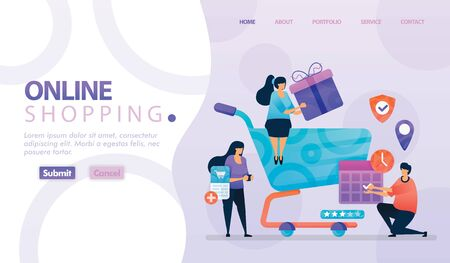 Landing page vector design of Online Shopping and E-commerce. Easy to edit and customize. Modern design concept of web page, website, homepage, mobile apps. character cartoon Illustration flat style.  イラスト・ベクター素材