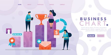 Landing page design of Business Bar Chart with flat Illustration cartoon character. Business data visualization of layout diagram, banner, web design,  web page, website, homepage, mobile apps, UI. 写真素材 - 130043825