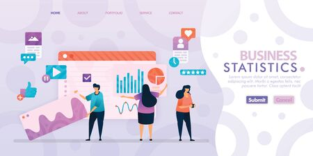 Landing page design of Business Statistics with flat Illustration cartoon character. Business data visualization of layout diagram, banner, web design,  web page, website, homepage, mobile apps, UI. 일러스트