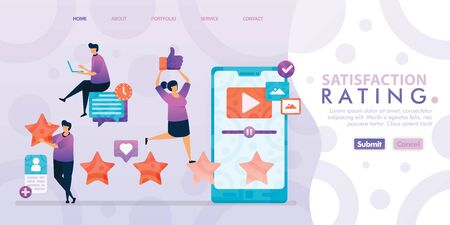 Landing page design of Satisfaction Rating with flat Illustration cartoon character. Business data visualization of layout diagram, banner, web design,  web page, website, homepage, mobile apps, UI. Ilustração
