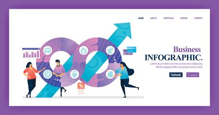 Landing page design of Business Infographic with flat Illustration cartoon character. Business data visualization of layout diagram, banner, web design,  web page, website, homepage, mobile apps, UI. 写真素材 - 130043834