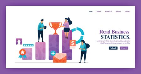Landing page design of Business Bar Chart with flat Illustration cartoon character. Business data visualization of layout diagram, banner, web design,  web page, website, homepage, mobile apps, UI. 写真素材 - 130043835
