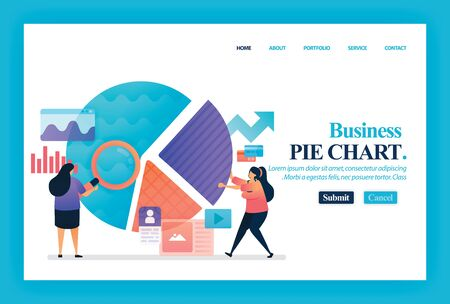 Landing page vector design of Business Diagram and Chart. Easy to edit and customize. Modern flat design concept of web page, website, homepage, mobile apps. character cartoon Illustration flat style. 写真素材 - 130043840