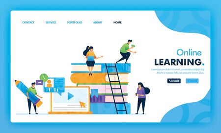 Landing page illustration concept back to school of online learning. Study Educational for marketing and promotion design can use for website, web, UI mobile apps, flyer, poster, mobile app, brochure 일러스트