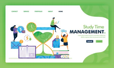 Landing page illustration concept back to school of study time management. Study Educational for marketing and promotion can use for website, web, UI mobile apps, flyer, poster, mobile app, brochure