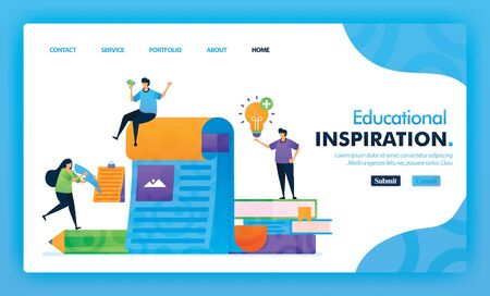 Landing page illustration concept back to school of inspiration in learning. Study Educational for marketing and promotion can use for website, web, UI mobile apps, flyer, poster, mobile app, brochure 写真素材 - 130043843