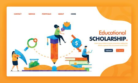 Educational scholarship landing page yellow vector concept with flat cartoon character and icon. homepage design can be use for landing page, web, mobile apps ui, poster, flyer, marketing, promotion. Illusztráció