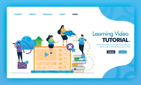 Learning Video Tutorial landing page blue vector concept with flat cartoon character and icon. homepage design can be use for landing page, web, mobile apps ui, poster, flyer, marketing, promotion. 写真素材 - 130043845