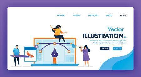 Vector illustration or graphic designer concept design for landing pages. flat cartoon character painting with software and laptop. can be use for homepage, website, web, mobile apps ui, poster, flyer