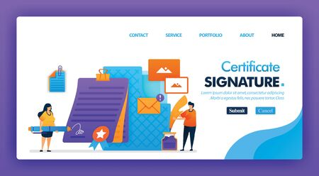 Signature certificate concept design for landing pages. flat cartoon character Sign digital contracts with e-agreement in pencil for documents. can use for homepage, website, web, mobile apps, poster