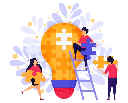Team Work In Business. People Cooperate Solve Puzzles to Find Ideas and Solutions in Building a Startup Business . Character Concept Vector Illustration For Web Landing Page, Banner, Mobile Apps