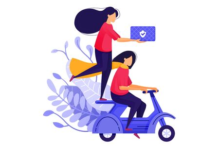 Two Courier Girls Delivering Goods on Scooters. Logistic Delivery Courier Transport Service For E-Commerce. Character Concept Vector Illustration For Web Landing Page, Banner, Mobile Apps, Card