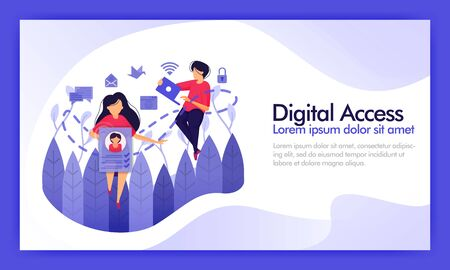 Access digital data and social media. Service access connection line from many platforms into security data usage and histories.  Vector illustration for website, landing page, mobile wallpaper, ui ux