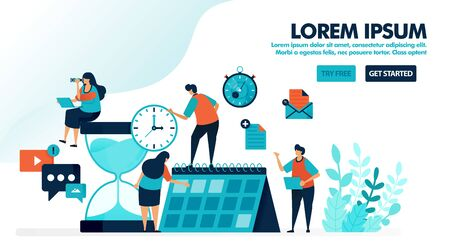 Organize schedules and plans on the calendar. Giant hourglass with reminder alarm. Time management for personal work. Flat vector illustration for landing page, web, mobile apps, flyer, poster, ui ux