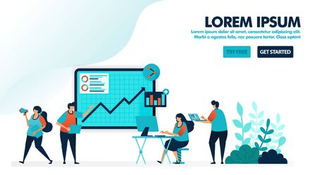 Business seminar. Gathering or company meeting. Discuss and evaluate profit reports with charts and analysis. Flat vector illustration for landing page, web, website, banner, mobile, flyer, poster, ui