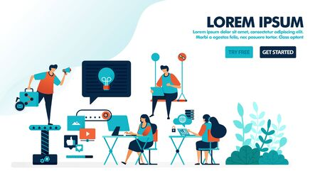 Workplace design for millennials. Coworking space or a modern workplace. Office startup to find ideas. Flat vector illustration for landing page, web, website, banner, mobile apps, flyer, poster, ui Иллюстрация