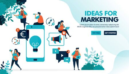 Business ideas by promoting products via mobile. Advertising and marketing with smartphone to profit. Flat vector illustration for landing page, web, website, banner, mobile apps, flyer, poster, ui