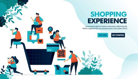 Shopping experience of finding products, making payments and delivery services. Big shopping cart. Flat vector illustration for landing page, web, website, banner, mobile apps, flyer, poster, ui