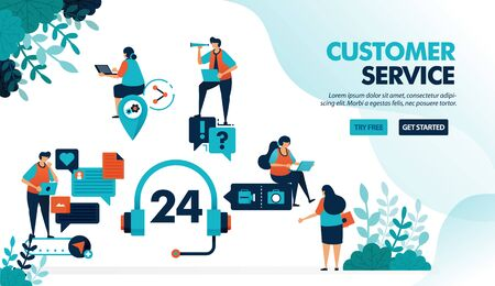 24 hour customer service to help users solve problems. Chatting service helps question with technical issue. Flat vector illustration for landing page, web, website, banner, mobile apps, flyer, poster Ilustrace