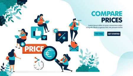 Compare prices for individual stores and products. Find the best prices with more discounts and promos. Flat vector illustration for landing page, web, website, banner, mobile apps, flyer, poster