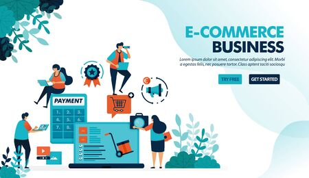 Ecosystem in e-commerce business. Starting choosing product, payment shipping method. Calculator for bagets. Flat vector illustration for landing page, website, banner, mobile apps, flyer, poster