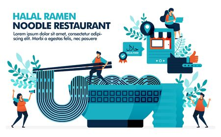 Vector illustration of bowl of halal ramen noodles with chopsticks. Location of halal japanese food restaurants in city. Review halal ramen and orintel cuisine. Noodles with glass of green tea