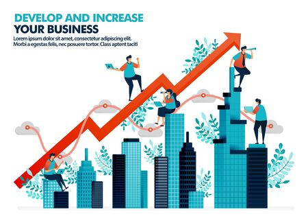 Vector illustration of improve business performance by investment in real estate. Significant business growth with statistics and charts. Develop company building asset. For landing page, web, poster Ilustrace