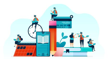 Vector illustration of people learn to use e-books with mobile apps. read books with smartphone for online courses, webinar and tutorials. online teaching and tutoring. For landing page, web, poster