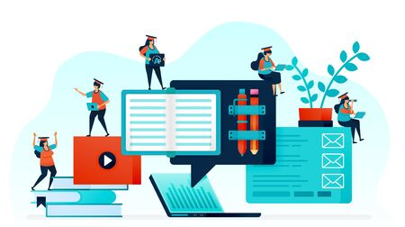 Vector illustration of e-learning makes it easy for student to learn. Distance learning with laptop and internet. online home work, courses and study for open knowledge. stationery and stack of book Stock Illustratie