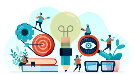 Vector illustration of idea and inspiration in student learning, pencil with lightbulb idea, learn to reach target, looking for illumination and science in lectures, learn to get idea and knowledge