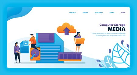 Landing page vector design of Computer Storage Media. Easy to edit and customize. Modern flat design concept of web page, website, homepage, mobile apps UI. character cartoon Illustration flat style.