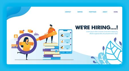 were hiring fresh graduate concept design for landing page. flat cartoon character holding magnifying glass to see detail of job applicant data. can use for homepage, website, web, mobile app, poster 일러스트