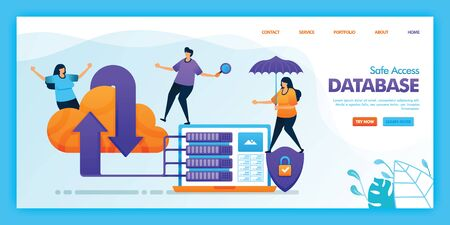 Landing page vector design of safe access database. Easy to edit and customize. Modern flat design concept of web page, website, homepage, mobile apps UI. character cartoon Illustration flat style.
