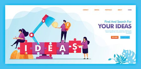 Landing page vector design of find and search for your ideas. Easy to edit and customize. Modern flat design concept of web page, website, homepage, mobile apps UI. character Illustration flat style.