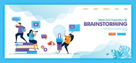 Landing page vector design of ideas dan inspiration by brainstorming. Easy to edit and customize. Modern flat design concept of web, website, mobile apps UI. character cartoon Illustration flat style.
