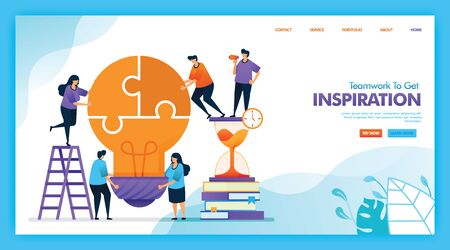 Landing page vector design of Teamwork to get inspiration. Easy to edit and customize. Modern flat design concept of web, website, homepage, mobile apps UI. character cartoon Illustration flat style. 일러스트