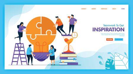 Landing page vector design of Teamwork to get inspiration. Easy to edit and customize. Modern flat design concept of web, website, homepage, mobile apps UI. character cartoon Illustration flat style. Ilustração