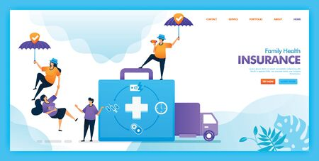 Landing page vector design of Family health insurance. Easy to edit and customize. Modern flat design concept of web page, website, homepage, mobile apps UI. character cartoon Illustration flat style.