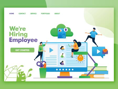 Landing page vector design of we're hiring employee. Easy to edit and customize. Modern flat design concept of web page, website, homepage, mobile apps UI. character cartoon Illustration flat style. Фото со стока - 133360859