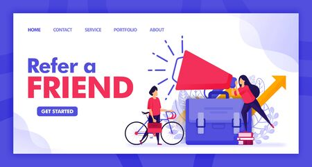 Landing page vector design of Refer a Friend. Easy to edit and customize. Modern flat design concept of web page, website, homepage, mobile apps UI. character cartoon Illustration flat style. 일러스트