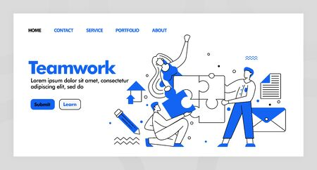 Teamwork vector design for business landing page website with flat cartoon illustration. people finish and solve puzzle . find a solution. Can use for landing page, Website, UI UX, Web, Mobile App 일러스트