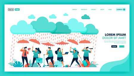 Secure yourself and self protection with high quality and guaranteed health insurance product, people wear umbrellas to protect from rain, Insurance referral program. Flat illustration vector design.