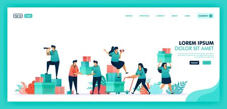 People help each other, Collect donations and funds to help others, Platform to volunteers collaborate for collect and distribute help box to disaster or poor victims. Flat illustration vector design.