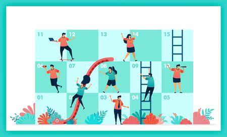 Vektordesign von Schlangen und Leitern in Zusammenarbeit und Teamarbeit. Herausforderungen in der Wirtschaft. Spielerbeiträge Teamarbeit, um Hindernisse im Schlangen- und Leiterspiel zu überwinden. Management in Quiz und Spiel Vektorgrafik