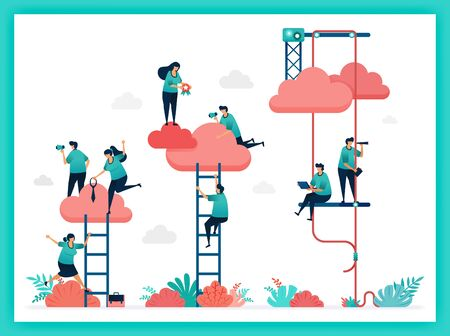 Vector of stair, job title, position. Increase position and ranking in company instantly. Try hard up stair to reach clouds. Teamwork in business. choose career, job title in a corporate organization