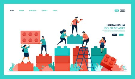 Vector design of game, bricks, business chart. people collaborate to solving problem, complete puzzle bricks game to build and developing business intelligence or BI. strategy in achieving growth succ