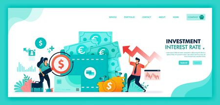 Save money in time deposit, bank and wallet, Increase interest rates to improve economy, Banking investment with mutual fund financial product and currency market. Flat illustration vector design. Ilustração